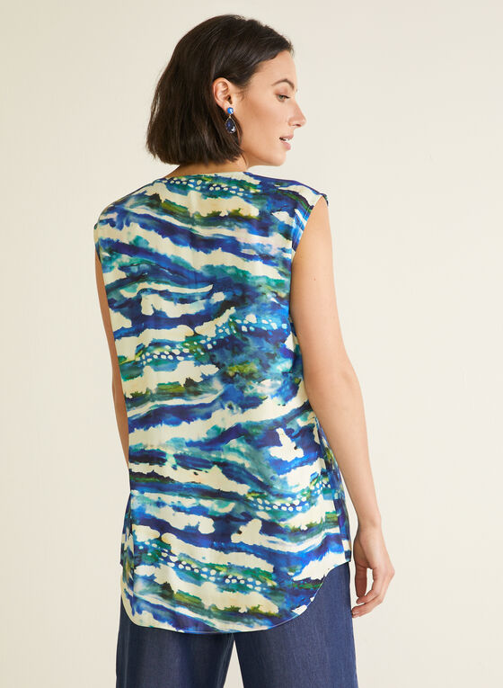 Abstract Print Cap Sleeve Tunic, Blue