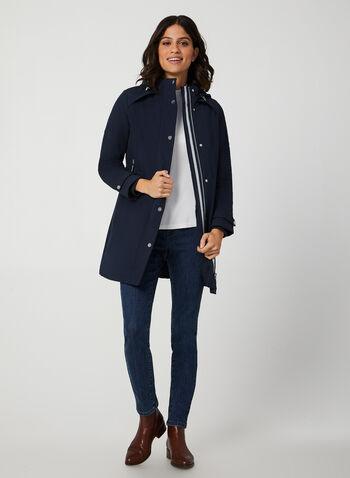 Manteau doublé à capuche, Bleu,  manteau à capuchon, manteau d'automne