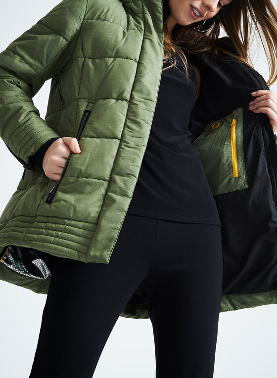 Chillax Faux Fur Polyfill Coat, Green, hi-res