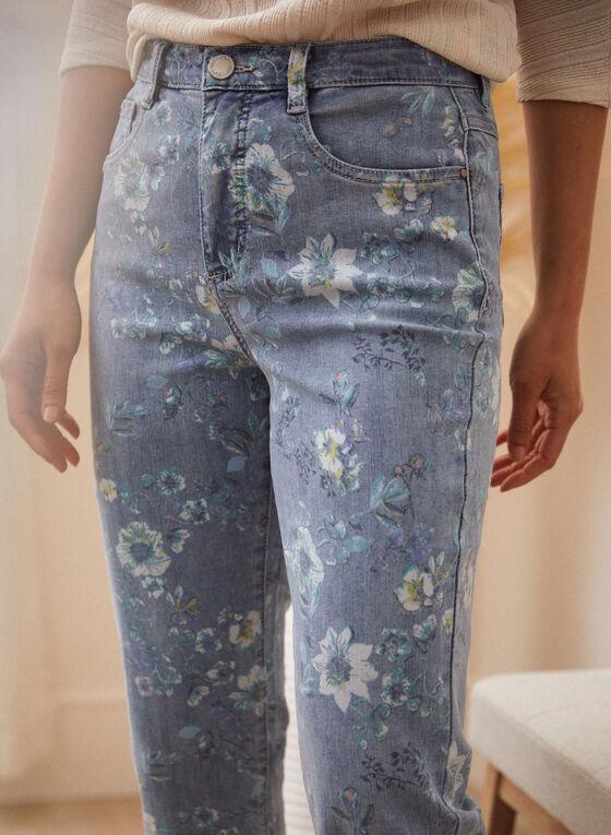 Floral Print Denim Capris, Blue