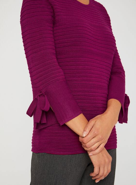 Ottoman Bell Sleeve Top, Pink, hi-res