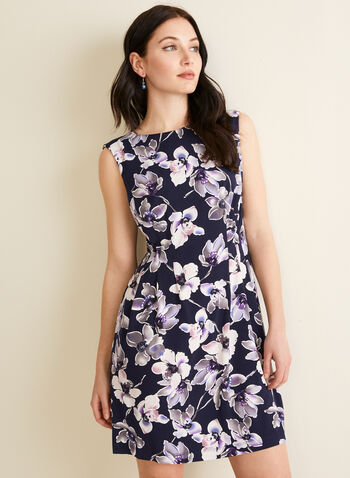 Sleeveless Floral Print Dress, Purple,  spring summer 2020, jersey fabric, sleeveless, fit & flare silhouette