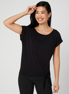 Tie Front Short Sleeve T-Shirt, Black, hi-res