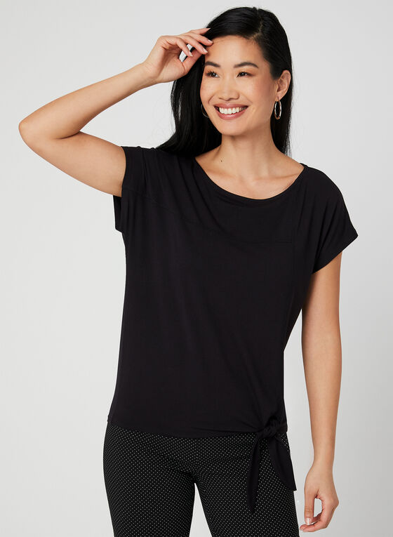 Tie Front Short Sleeve T-Shirt, Black