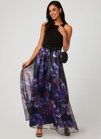Floral Print Halter Dress, Black, hi-res