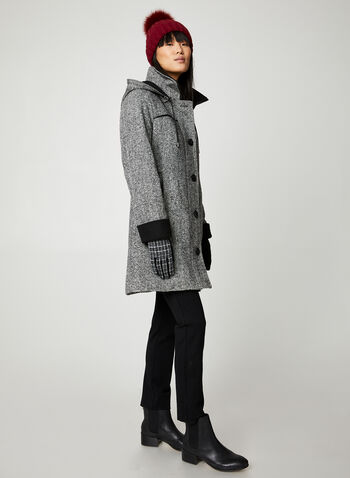 Portrait - Manteau en tweed à capuchon amovible, Noir,  manteau, capuchon, tweed, poches, boutons, automne hiver 2019