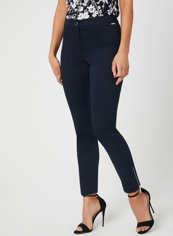 City Fit Slim Leg Pants, Blue, hi-res,  cotton, zipper, spring 2019