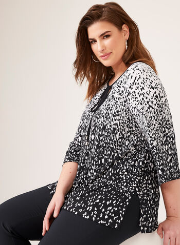 Abstract Print ¾ Sleeve Jersey Blouse, Black, hi-res