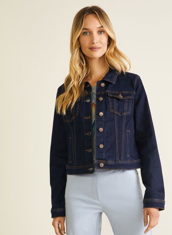 Button Front Denim Jacket, Blue,  jacket, denim, button front, shirt collar, pockets, spring summer 2020