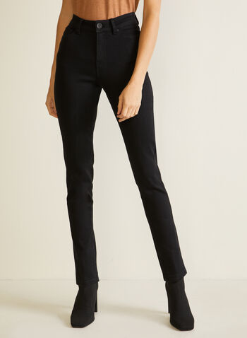 Straight Leg High Rise Jeans, Black,  jeans, straight leg, pockets, high rise, fall winter 2020