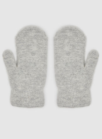 Snowflake Print Mitts, Grey,  mitts, gloves, wool mitts, rhinestones, pearls, pearl mitts, fall 2019, winter 2019