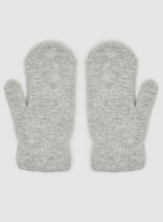 Snowflake Print Mitts, Grey, hi-res