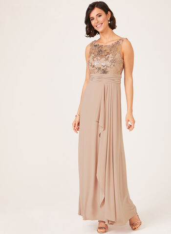 Sequin Embellished Mesh Bodice Dress, Pink, hi-res