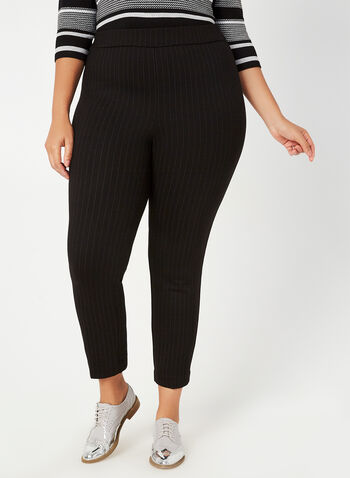 City Fit Slim Leg Pants, Black,  fall winter 2019, pinstripe, print, city fit, slim leg pants, stretchy, pull-on