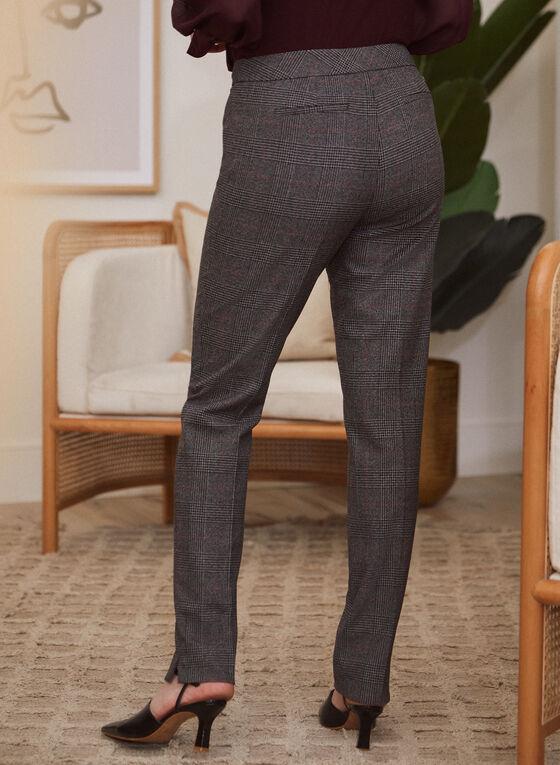 Tartan Print Modern Fit Pants, Grey