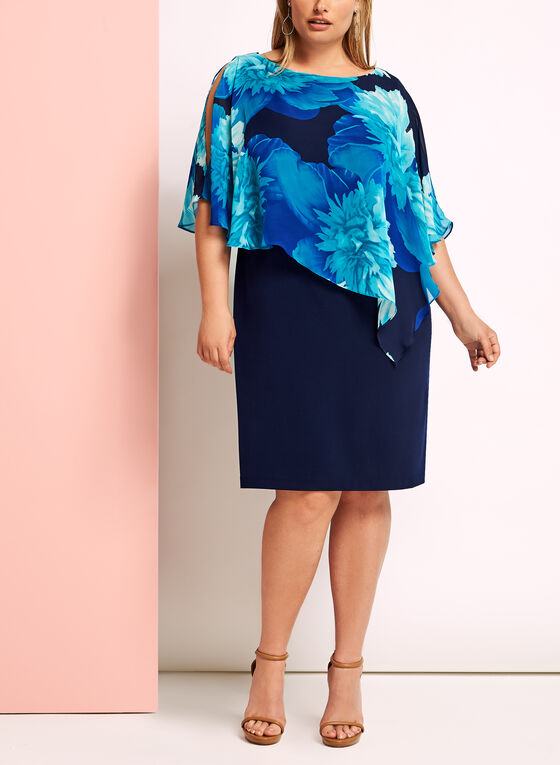 Floral Print Asymmetric Poncho Dress, Blue, hi-res