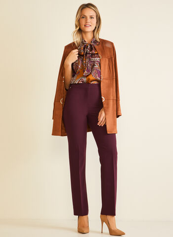 Modern Fit Straight Leg Pants, Purple,  pants, modern, straight, pleats, fall winter 2020