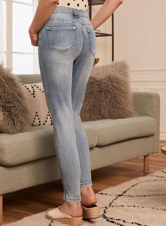 Pearl Detail Slim Leg Jeans, Blue