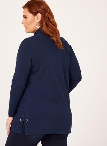 Cardigan tricot avec oeillets, Bleu, hi-res