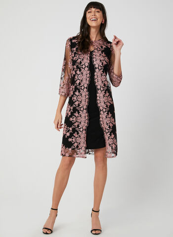 Alex Evenings - Jersey Dress With Embroidered Jacket, Black, hi-res,  cocktail dress, sleeveless, jersey, jacket, mesh, embroidered, fall 2019, winter 2019