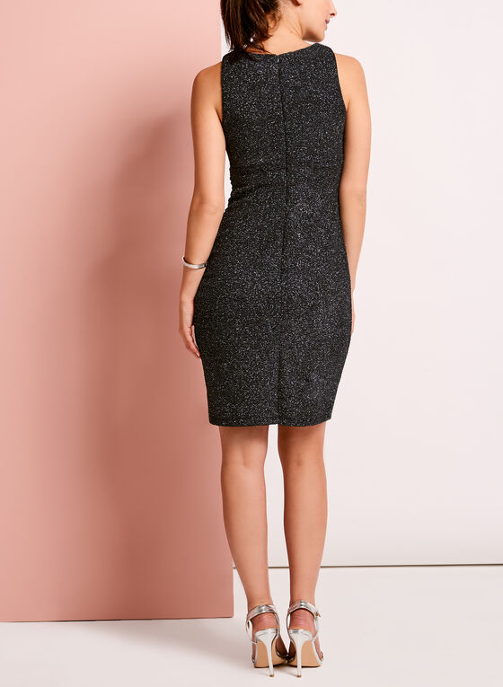 Embellished Glitter Crepe Knit Dress, Silver, hi-res