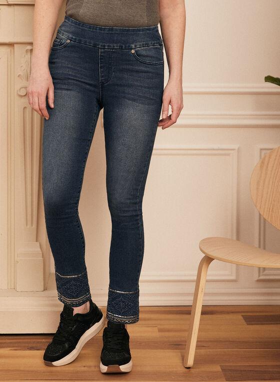 Embroidered Hem Pull-On Jeans, Blue