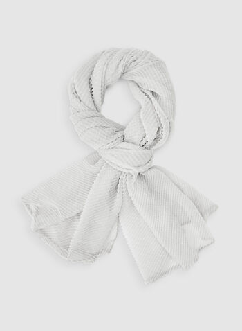 Pleated Pashmina Scarf, Silver,  scarf, pashmina, pleated, fall 2019, winter 2019