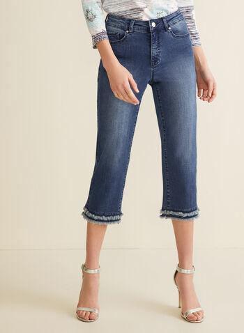 Fringe Cuff Denim Capris, Blue,  jeans, capris, pants, denim, denim capris, capri jeans, fringes, spring 2020, summer 2020