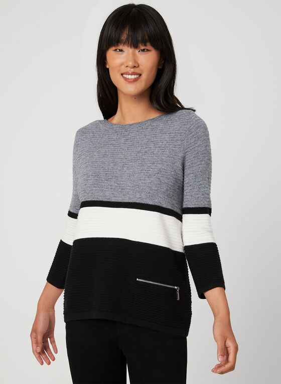 Stripe Print Colour Block Top, Grey