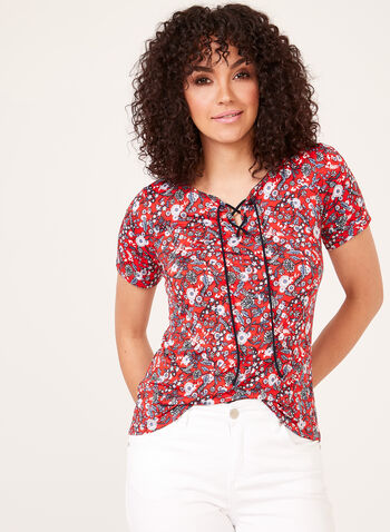Floral Print Lace-Up Neck Top, Red, hi-res