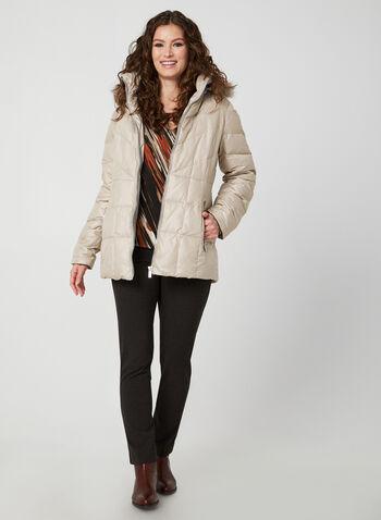 Manteau matelassé à capuchon amovible, Blanc cassé,  manteau, matelassé, duvet, plumes, capuchon, fausse fourrure, automne hiver 2019