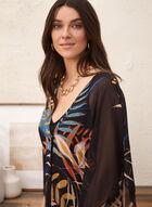 Tunique à motif palmier et manches kimono, Noir