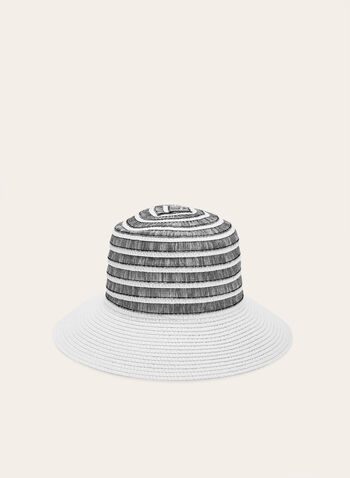 Two Tone Cloche Straw Hat , White, hi-res