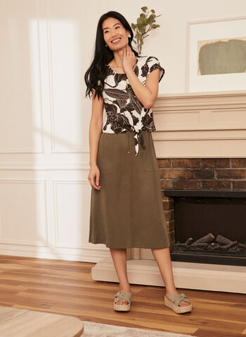 Tencel Midi Skirt, Green,  skirt, midi, tencel, drawstring, elastic, slit, pockets, pull-on, spring summer 2020