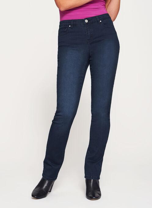 Jean coupe moderne à jambe droite, Bleu, hi-res