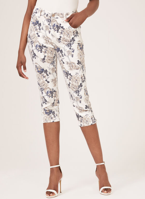 Simon Chang - Floral Print Signature Fit Capri, White, hi-res