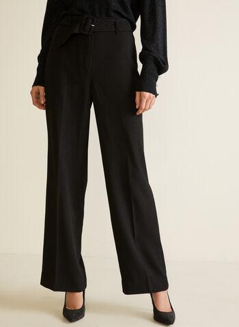 Pantalon ceinturé à jambe large, Noir,  automne hiver 2020, pantalon, jambe large, ceinture, ganses, taille haute, plis, poches, rayures, motif, rayé, crêpe, Fêtes, Fêtes 2020
