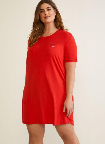 Printed Nightshirt, Red,  fall winter 2020, nightshirt, pyjama