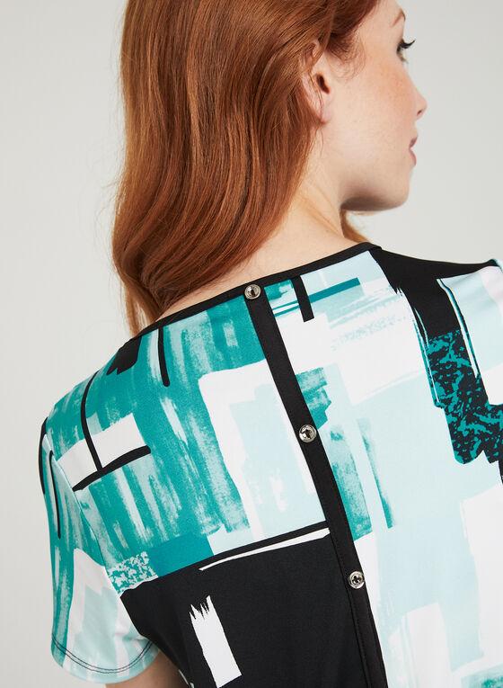 T-shirt à manches courtes motif abstrait et détails boutons , Bleu, hi-res