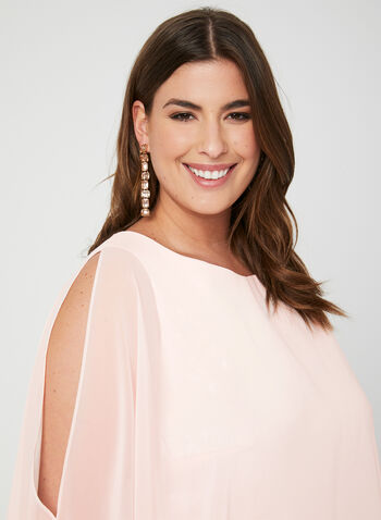 Robe en brocart et poncho en mousseline, Rose, hi-res