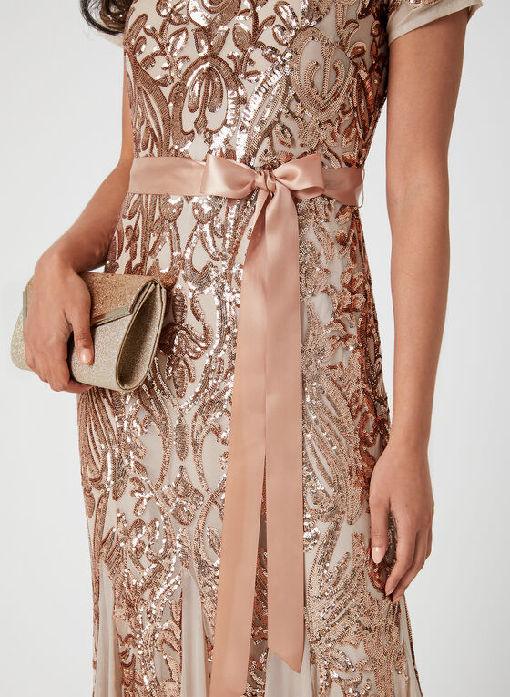 Sequin & Mesh Dress, Off White