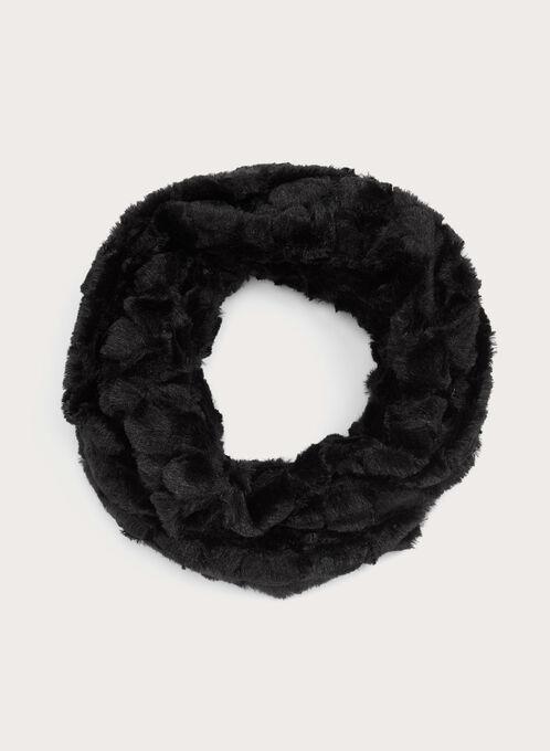 Foulard circulaire en fausse fourrure, Noir, hi-res