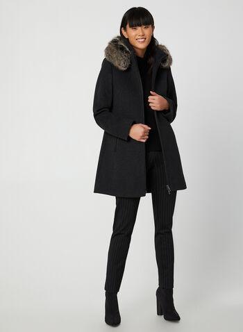 Portrait - Manteau en laine et fausse fourrure, Gris,  manteau, laine, capuchon, fausse fourrure, zip, poches, automne hiver 2019