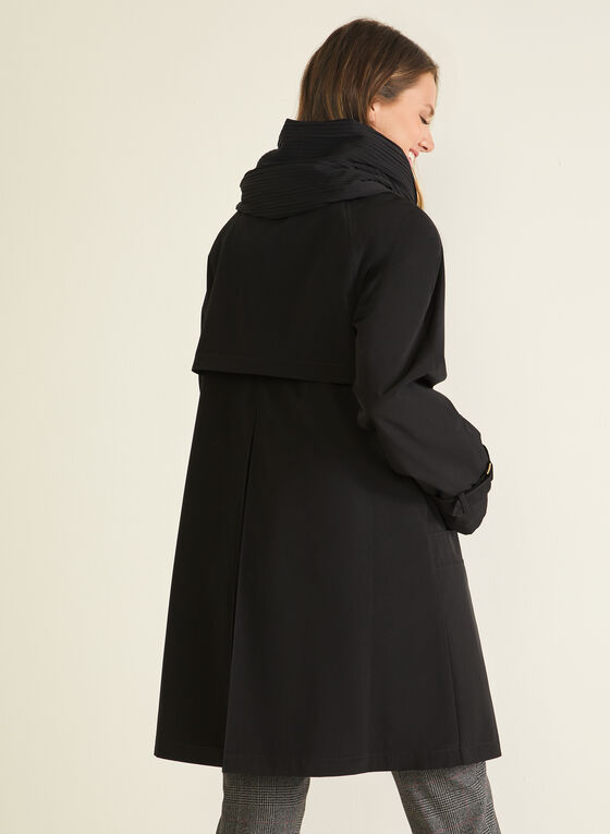 Hooded Button Front Coat, Black