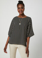 Stripe Print Blouse, Blue, hi-res