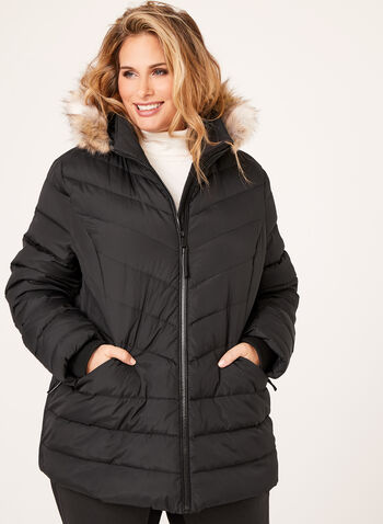 Novelti - Faux Fur Hooded Quilted Coat, Black, hi-res