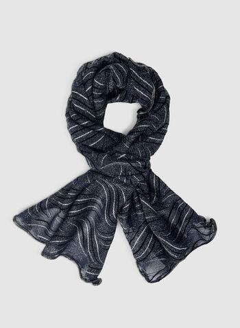 Foulard léger à effet pailleté, Bleu,  foulard, léger, pailleté, courbes, automne hiver 2019