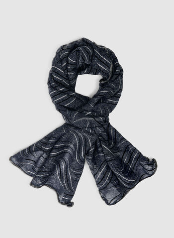 Glitter Scarf, Blue,  scarf, glitter, metallic, metallic scarf, glitter scarf, print scarf