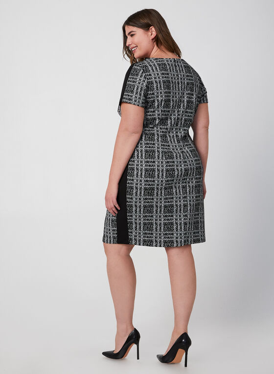 Plaid Short Sleeve Dress, Black