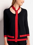 Tie Neck Fooler Sweater, Black, hi-res